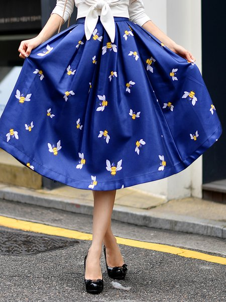 Navy Blue Animal Print Elegant Midi Skirt