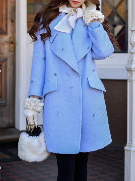 Elegant Beaded H-line Long Sleeve Coat