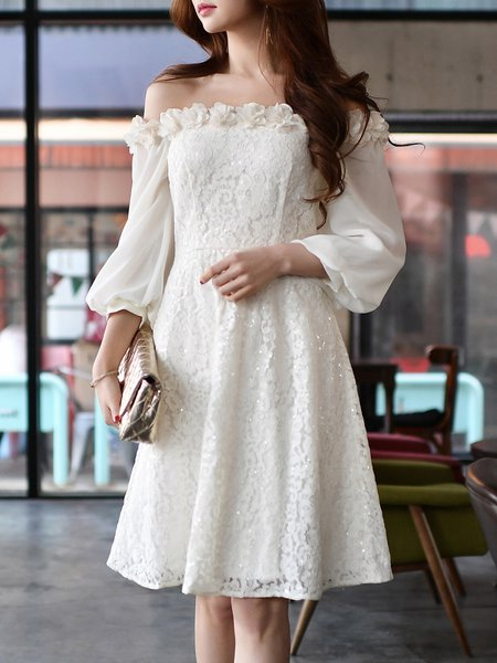 White Floral Balloon Sleeve A-line Off Shoulder Lace Party Dress