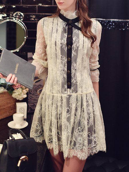 Beige Frill Sleeve Ruffled A-line Lace Party Dress