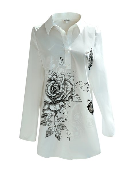 White Cotton-blend Long Sleeve Rose Printed Blouse - StyleWe.com