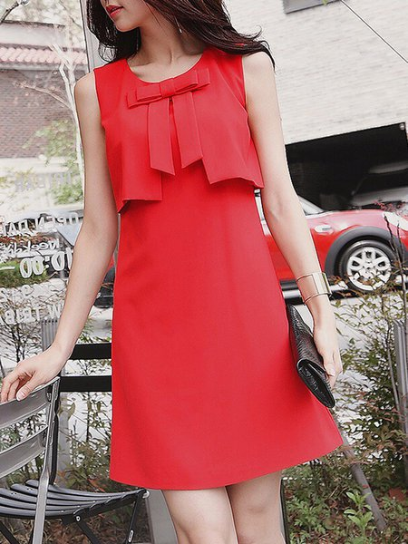 Red Solid Sleeveless Bow  Mini Dress