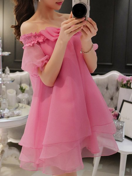 Pink Solid Shorts Sleeve Off Shoulder Chiffon Dress