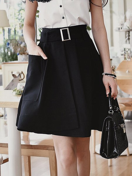 Black Elegant Solid Pockets Midi Skirt