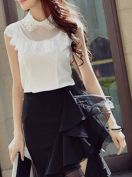 White Solid Elegant Peter Pan Collar Tops