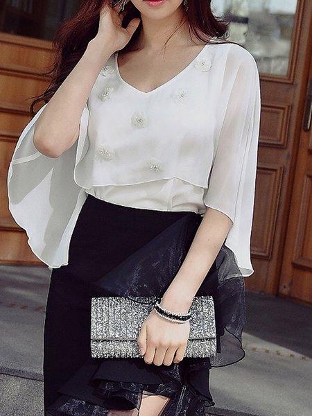 White Solid V Neck Elegant Tops
