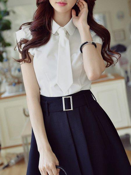 White Nylon Elegant Shirt Collar Solid Blouse