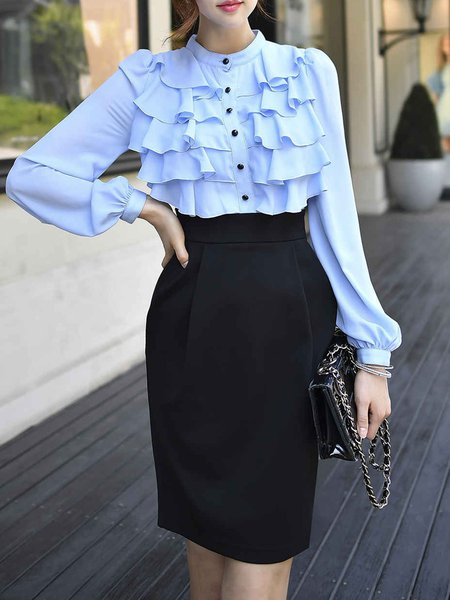 Black-blue Ruffled Long Sleeve Midi Dress