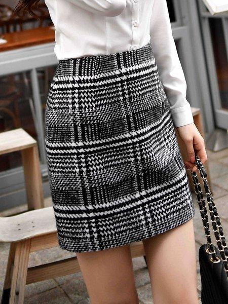 Black H-line Elegant Houndstooth Mini Skirt