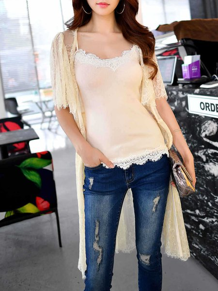 Beige Shorts Sleeve Guipure Lace A-line Coat