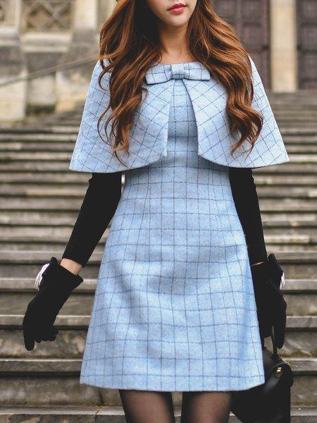 Light Blue Cape Sleeve Midi Dress