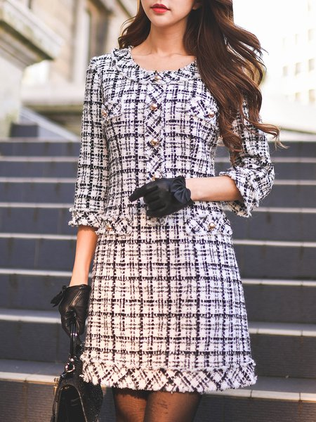Black-white 3/4 Sleeve Checkered/Plaid Woven Midi Dress