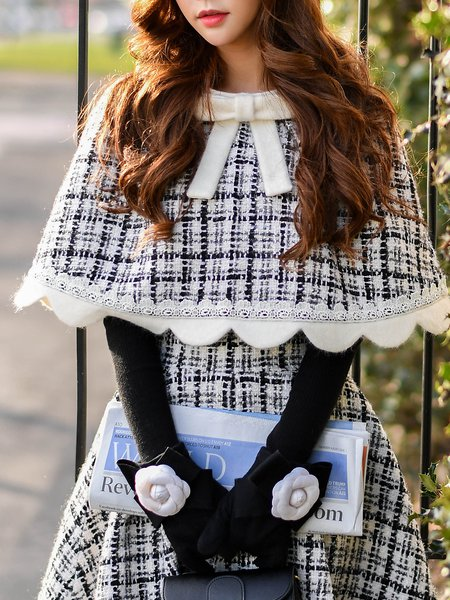 White-black Bow Cape Sleeve Top