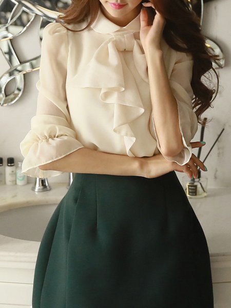 Peter Pan Collar Bow Girly Balloon Sleeve Chiffon Blouse