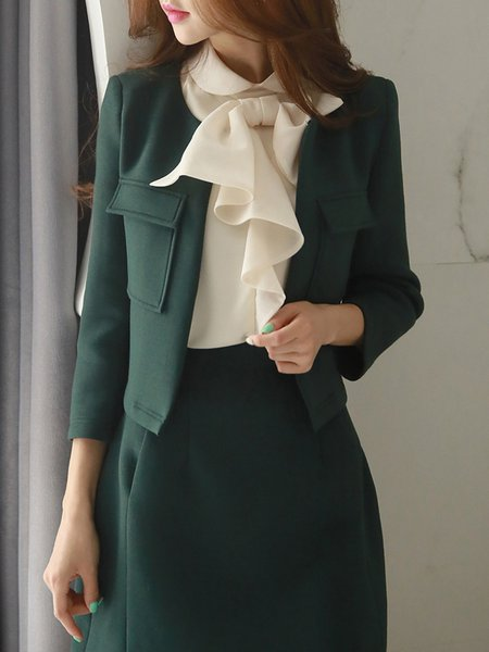 Dark Green Elegant Polyester Plain Coat