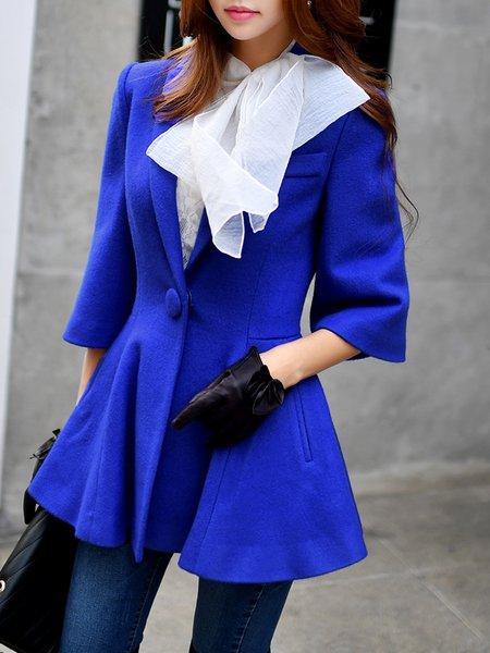 Royal Blue Ruffled 3/4 Sleeve Lapel Plain Wool Blend Coat