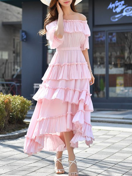 Pink Off Shoulder Ruffled Frill Sleeve Tiered Solid A-line Maxi Dress