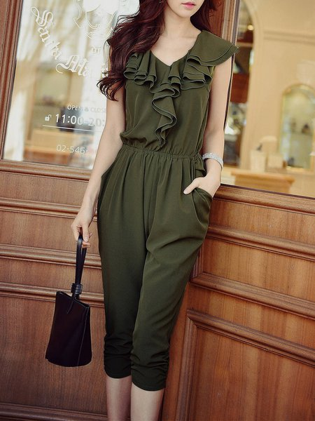 Army Green Ruffled Casual Sleeveless V Neck Jumpsuit