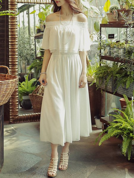 White Two Piece Off Shoulder Folds Half Sleeve Wide Leg Jumpsuit