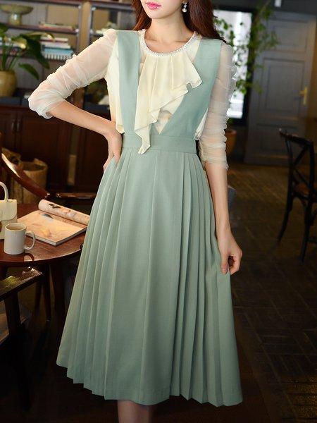 Spaghetti Elegant A-line V Neck Midi Dress