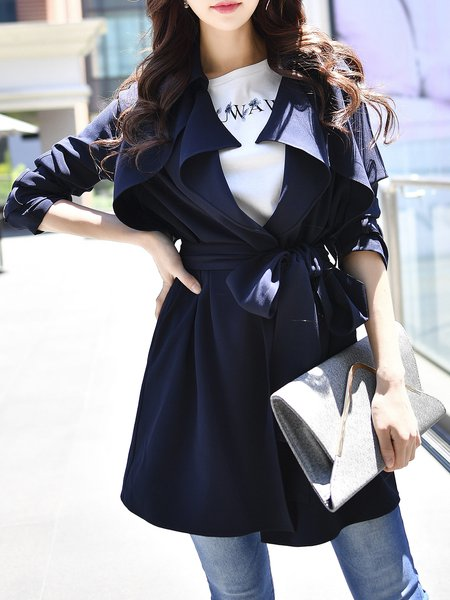 Long Sleeve Solid Elegant Lapel Trench Coat