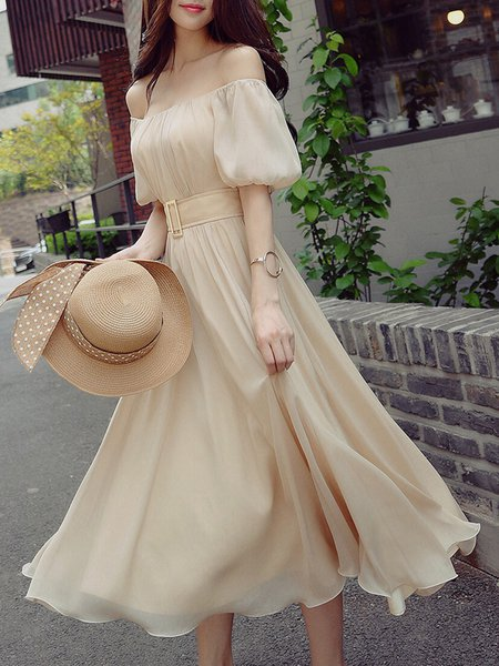 Beige  A-line Elegant Midi Dress