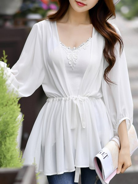 White Solid 3/4 Sleeve Blouse