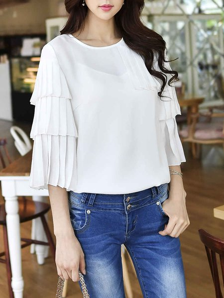 White Pleated 3/4 Sleeve Solid Blouse