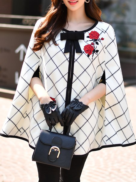 White Floral-embroidered Checkered/Plaid Crew Neck Elegant Coat