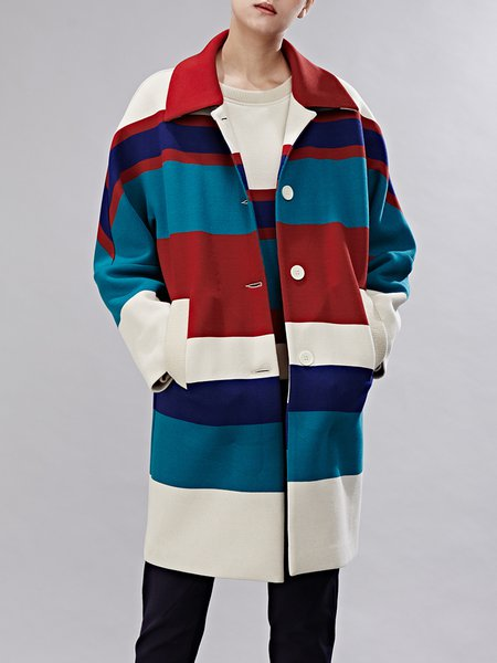 Multicolor Color-block H-line Long Sleeve Coat