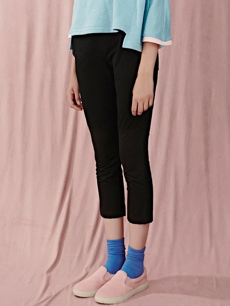 Black Cotton-blend Casual Cropped Pants