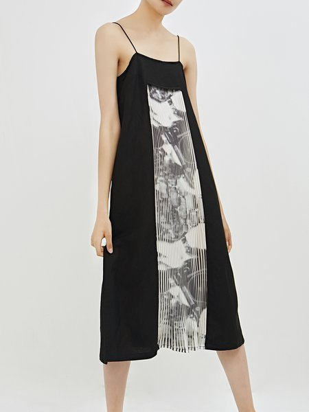 Cotton Abstract Spaghetti Sexy Spaghetti Midi Dress