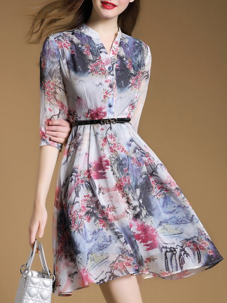 Polyester 3/4 Sleeve Vintage A-line Floral Mini Dress