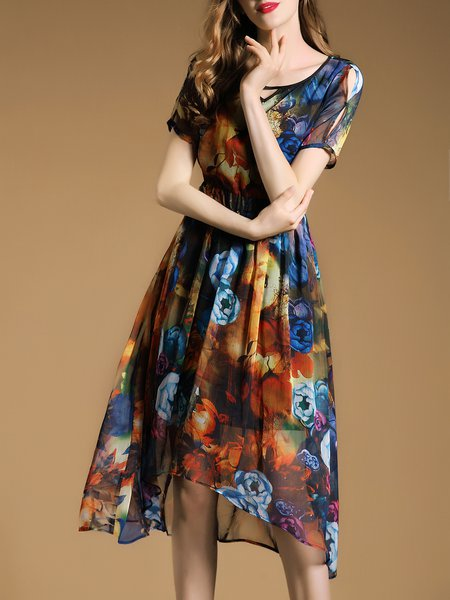 Multicolor Floral-print Swing Short Sleeve Midi Dress