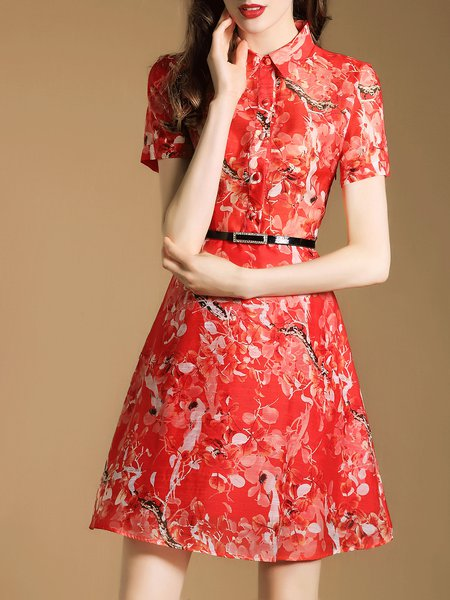 Red Floral-print Elegant Mini Dress with Belt