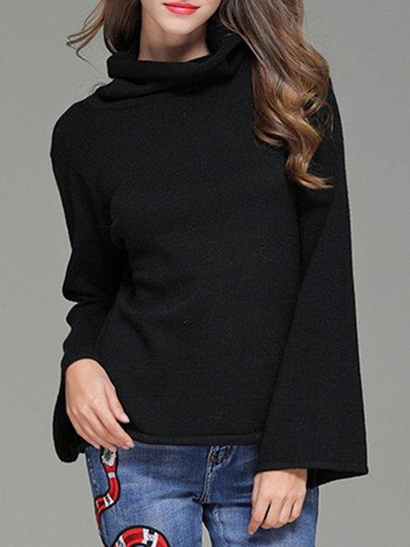 Black Turtle Neck Cutout Long Sleeve Turtle Neck Sweater