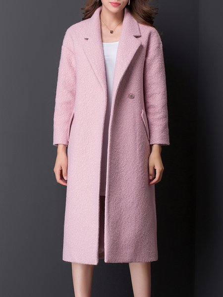 H-line Long Sleeve Simple Plain Coat