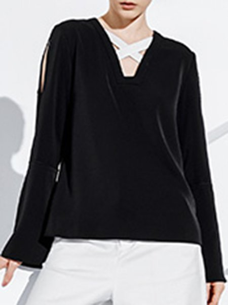 Polyester Long Sleeve Casual Top