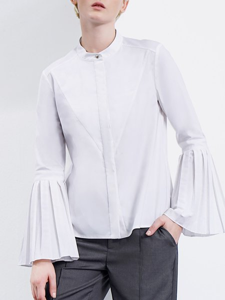 Bell Sleeve Solid Casual Folds Blouse