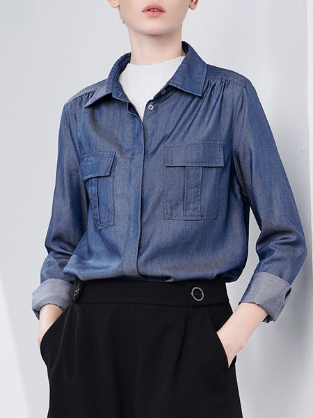 Deep Blue Casual Shirt Collar Denim Pockets Denim Blouse