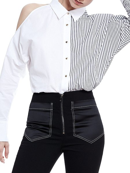 Cotton Paneled Stripes Casual Long Sleeve Blouse