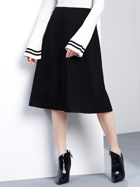 Slit Black Polyester Solid Simple Wool blend Midi Skirt