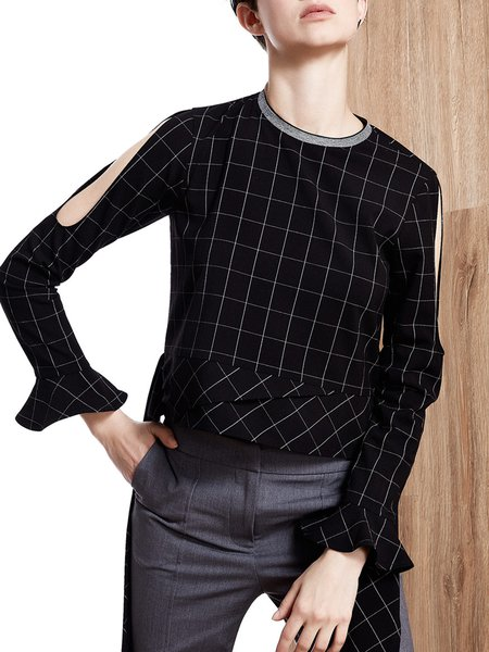 Black Plaid Asymmetric Casual Bell Sleeve Top