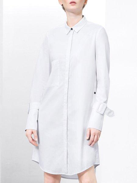White Long Sleeve Shirt Collar H-line Midi Dress