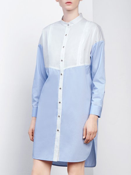 Light Blue Casual H-line Cotton-blend Color-block Midi Dress