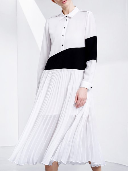 White-black Color-block Pleated H-line  Long Sleeve Shirt Collar Pleated Midi Dress