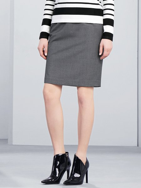 Gray Work H-line Slit Mini Skirt