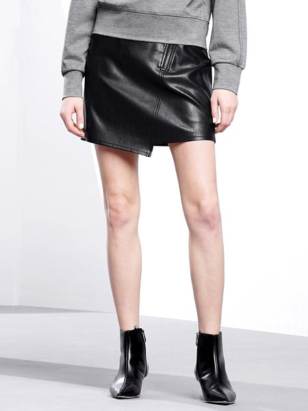 PU Black Asymmetric Street A-line Polyester Mini Skirt