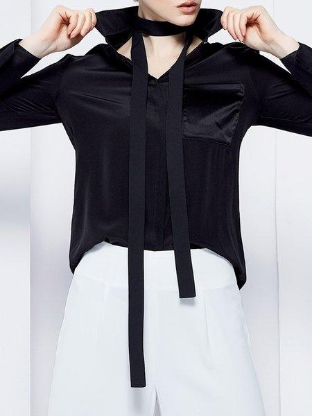 Pockets Black Long Sleeve Silk Solid Blouse
