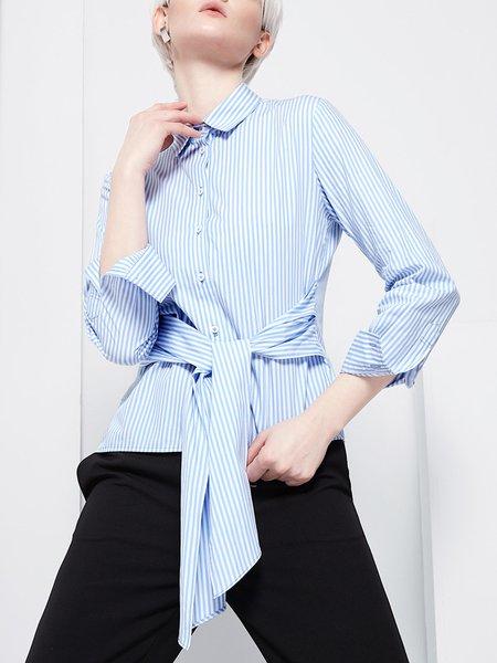 Light Blue Cotton Long Sleeve Stripes Blouse